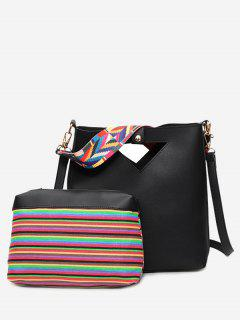 Hollow Out Rainbow Striped Crossbody Bag Set - Black