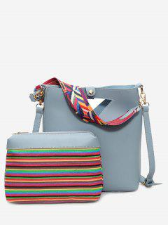 Hollow Out Rainbow Striped Crossbody Bag Set - Blue