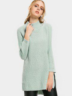 High Neck Side Slit High Low Sweater - Fresh