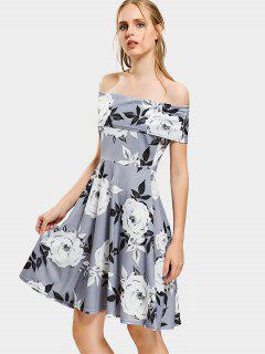 Floral Print Off The Shoulder Flare Dress - Gris S