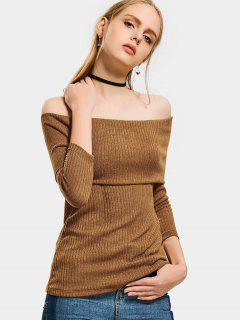 Off The Shoulder Plain Knitted Top - Light Brown Xl