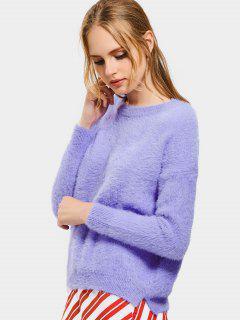 Floral Patched Drop Shoulder Mohair Sweater - Light Purple