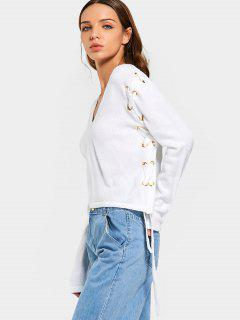 Cropped V Neck Lace Up Sweater - White S
