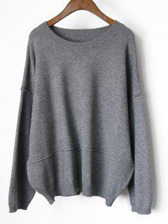 Drop Shoulder Oversized Pullover Sweater - Gray