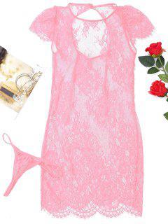 Robe De Nuit Transparente En Dentelle Et Slip En T  - Rose PÂle