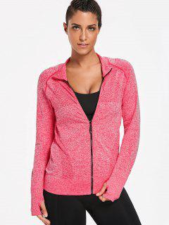 Thumbhole Heathered Sports Jacket - Papaya S