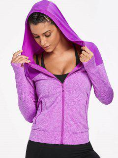Hooded Heathered Sports Jacket - Purple M