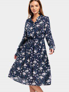 Drawstring Waist Tiny Floral Dress - Floral L