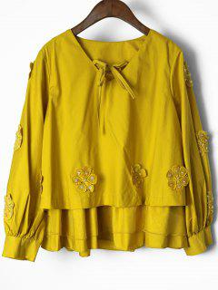 Blouse Aplatie Multicolore En Applique Multicolore - Jaune