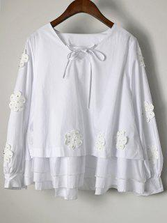 Beaded Layered Floral Applique Blouse - White