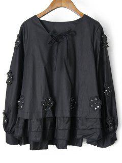 Beaded Layered Floral Applique Blouse - Black