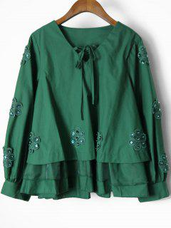 Beaded Layered Floral Applique Blouse - Green