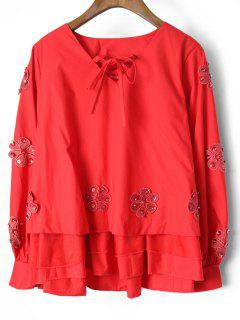 Beaded Layered Floral Applique Blouse - Red