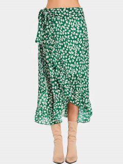 Tiny Floral Ruffles Wrap Midi Skirt - Green M