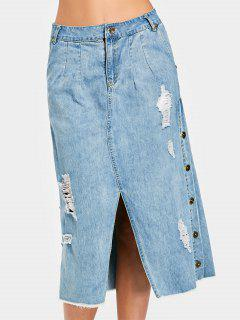 Side Buttoned Slit Destroyed Denim Skirt - Denim Blue L