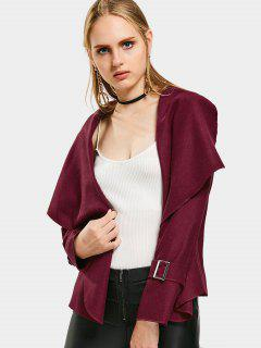Shawl Collar Belted Cuff Coat - Wine Red S