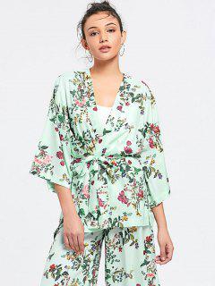 Belted Side Slit Floral Kimono Blouse - Floral S