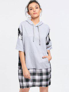 Longline Loose Checked Panel Hoodie - Gray L