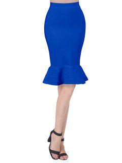 High Waist Bandage Mermaid Skirt - Blue L