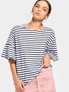 Ruffled Sleeve Loose Stripes Top - Stripe L