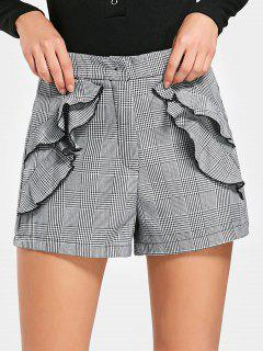 High Waisted Houndstooth Ruffles Shorts - Checked M