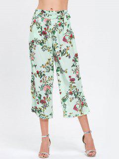 Bowknot Ruffles Floral Wide Leg Pants - Floral L