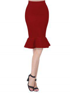 High Waist Bandage Mermaid Skirt - Red S