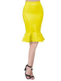 High Waist Bandage Mermaid Skirt - Yellow L