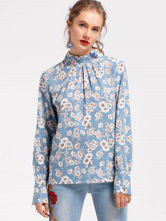 Floral Blusa De Cuello De Mock - Azul L