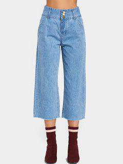 Three Buttoned High Waisted Wide Leg Jeans - Denim Blue L