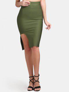 High Waist Slit Bodycon Skirt - Army Green M