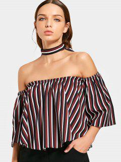 Stripes Off Shoulder Choker Blouse - Rayure S