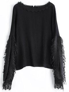 Crochet Trim Slit Sleeve Blouse - Black