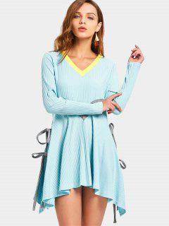 V Neck Contrast Asymmetric Mini Dress - Sky Blue M