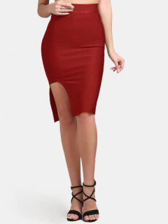 High Waist Slit Bodycon Skirt - Red S