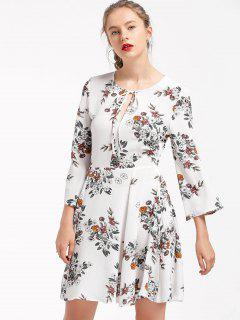Floral Tie Neck Skater Dress - White L
