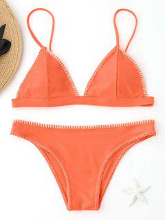 Fluorescence Color Bralette Bikini Set - Fluorescent Orange M