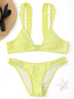 Front Closure Ladder Cut Ruffles Bikini Set - Yellow M