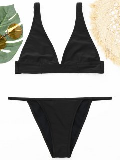 Plunging Neck Bralette Thong Bikini Set - Black S