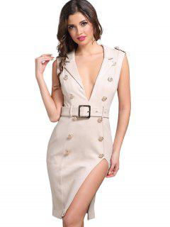 Button Embellished Sleeveless Slit Belted Dress - Apricot S