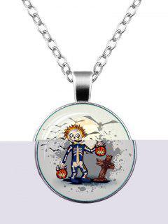 Halloween Funny Skeleton Pumpkin Bat Necklace - Silver