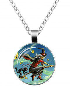 Halloween Witch Devil Cat Star Necklace - Silver