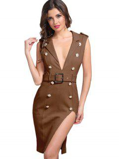 Button Embellished Sleeveless Belted Dress - Brown S