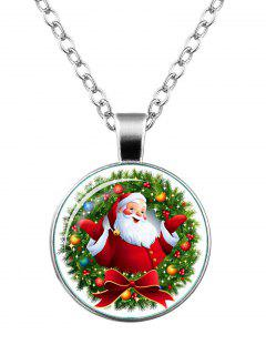 Christmas Santa Bowknot Wreath Necklace - Silver
