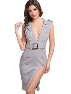 Button Embellished Sleeveless Slit Belted Dress - Smashing S