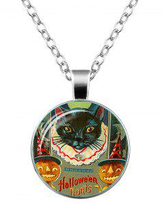 Halloween Devil Pumpkin Cat Moon Necklace - Silver