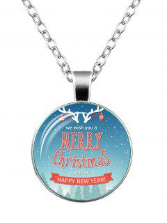 Happy New Year Merry Christmas Deer Necklace - Silver