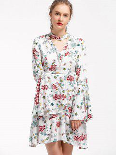 Floral Bell Sleeve Skater Choker Dress - Floral L