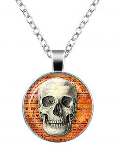 Halloween Skull Cameo Necklace - Silver