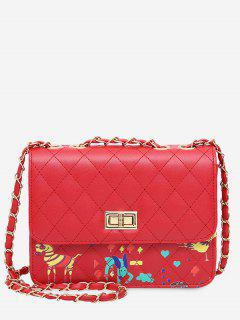 Animal Print Quilted Crossbody Bag - Red